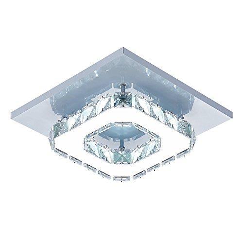 DAXGD Plafoniere a LED 5500K Plafoniere led a Soffitto Modern Cristallo acciaio inossidabile 12W lampada da soffitto, Luci bianche fredde
