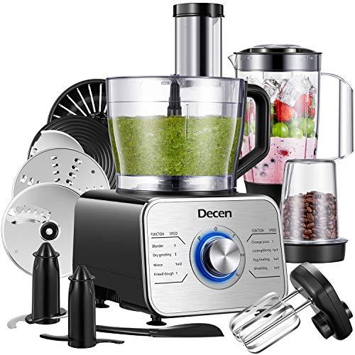 Decen Robot da Cucina Multifunzione 1100W, Robot da Cucina Compatto con 3 Velocita e Funzione Impulso, 3.5L(con gancio per impastare, frullatore, spremiagrumi e macinacaffè), Argento