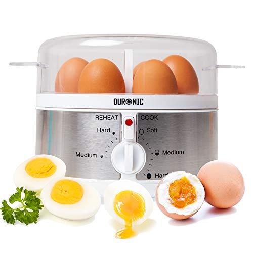 Duronic EB35 Cuoci uova elettrico automatico Bolliuova 350W Bollitore a vapore Mini vaporiera elettrica 1-7 uova termostato timer uova sode/dure/medie/alla coque - dosatore e ago fora-uova