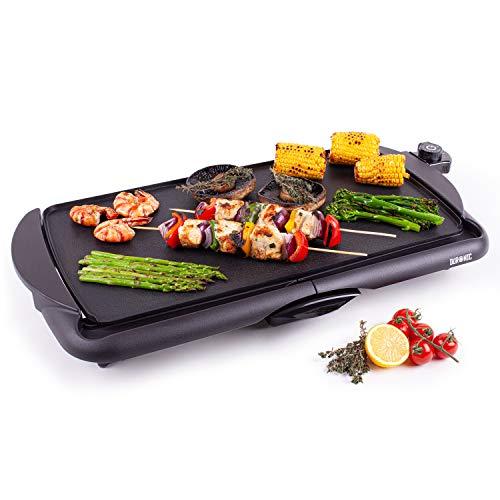Duronic GP20 Piastra elettrica da tavolo anti aderente 2000W Piastra per teppanyaki superficie grill da 52 x 27 cm con termostato e vaschetta raccoglitrice
