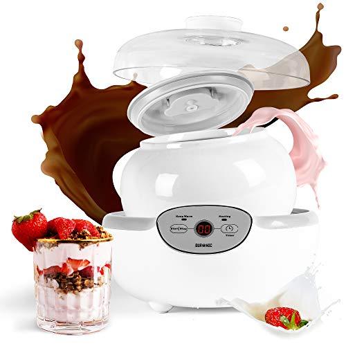 Duronic YM1 Yogurtiera elettrica automatica – 1 vasetto in ceramica da 1.5 litri - Macchina per yogurt con display digitale timer impostabile - Ideale per preparare yogurt fatti in casa