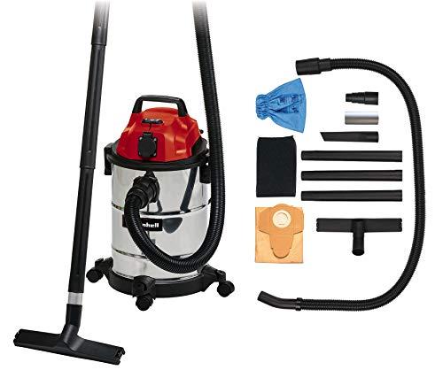 Einhell Aspiratutto Solidi/Liquidi TC-VC 1820 SA, 20 L, tubo plastica in 3 pezzi, tubo aspirazione 150cm, 4 ruote piroettanti, sacchetto raccolta sporco, filtro schiuma, presa autom. per apparecchi