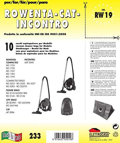 Elettrocasa RW 19, Sacchetti per la polvere, un pacco con 10 pezzi