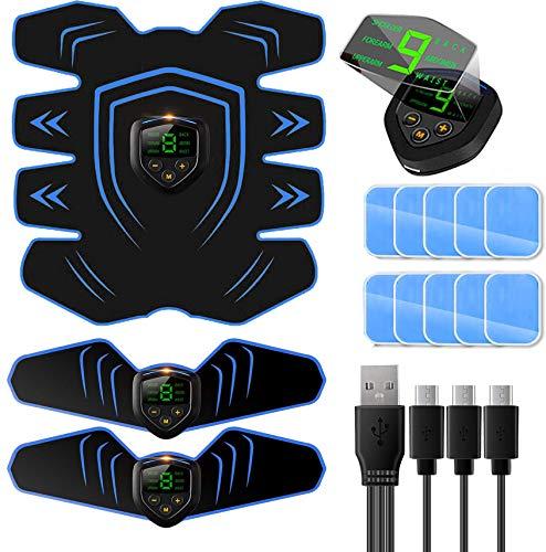 Elettrostimolatore per Addominali,Elettrostimolatore Muscolare Professionale per Braccio/Gambe/Glutei, EMS Stimolatore Addominale, USB Ricaricabile, 6 modalità e 9 Livelli di Intensità