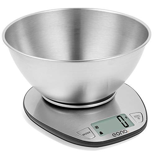 Eono by Amazon - Bilancia da cucina digitale, in acciaio inossidabile con piatto rimovibile, funzione tara, display LCD, capacità 5 kg/11 lb, garanzia 15 anni