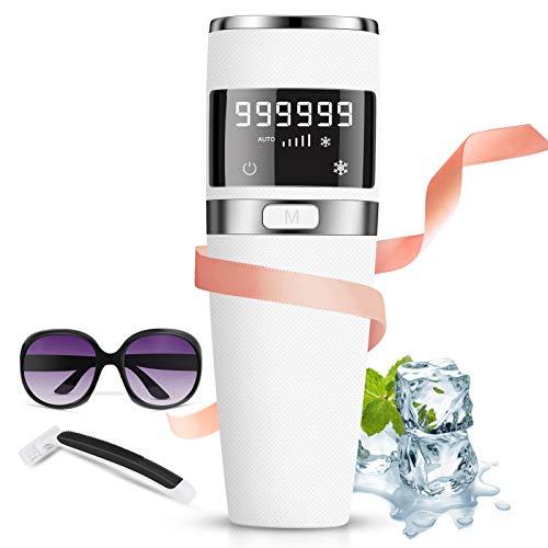 Epilatore a luce pulsata IPL, Dispositivo di depilazione laser 999.999 flash, epilatore a luce pulsata di ghiaccio/indolore, compressore per il ghiaccio a rimozione permanente 5 livelli per bikini