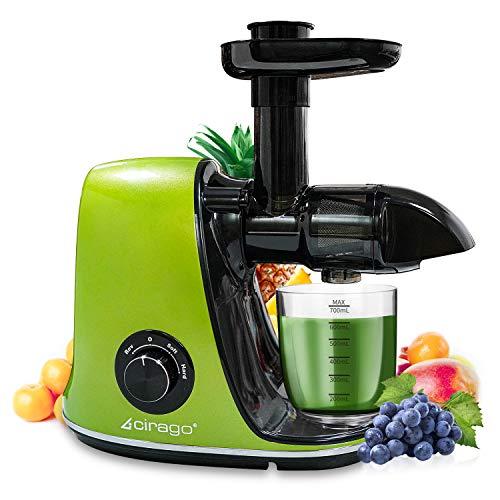 Estrattore di Succo a Freddo CIRAGO, Estrattore di frutta e verdura con 2 velocità, Motore Silenzioso e Funzione Inversa, Facile da pulire con un pennello, senza BPA