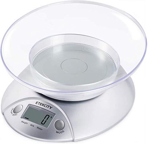 Etekcity Bilancia Cucina Digitale 5kg/11lb, Bilancia da Cucina Alimenti con Ciotola Rimovibile, Funzione Tara, Display LCD, Misura per Volume Liquidi, Argento