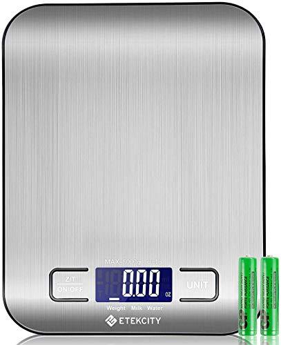 ETEKCITY Bilancia da cucina digitale elettronica 5 kg con ampio display LCD, bilancia da cucina ultrasottile in acciaio inox, misurazione dei liquidi, alta precisione fino a 1 g, funzione tara