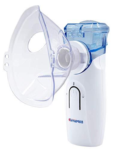 FARMAMED Aerosol Nebulizzatore Mesh Silenzioso Portatile per bambini e adulti con boccaglio e maschere, Doppia Alimentazione, Ricaricabile con cavo USB o Pile, Funzione di Autopulizia