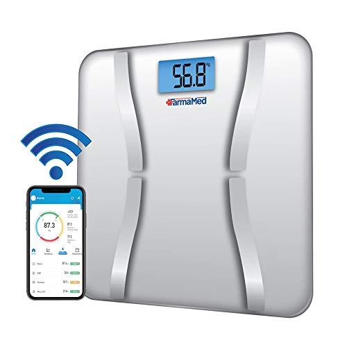 FARMAMED Bilancia Digitale Pesapersone Smart Bluetooth, App iOS e Android, Misurazione della Composizione Corporea, Tecnologia Impedenziometrica BIA, Peso, Grasso Corporeo, Proteine e BMI