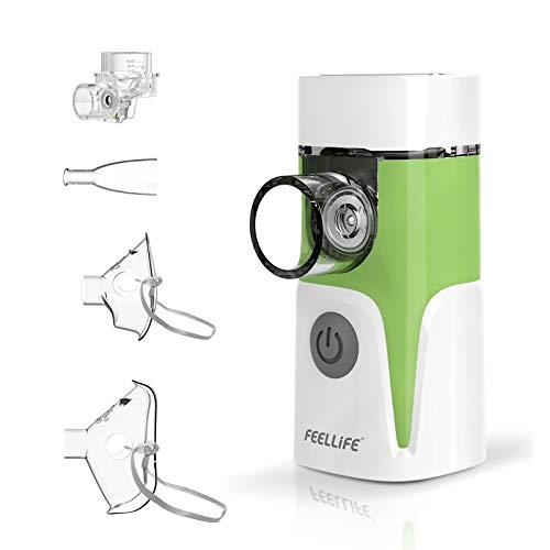 Feellife Aerosol Silenzioso con Nebulizzatore Portatile, Inalatore da viaggio, per Bambini e Adulti, con Boccaglio e Maschera, Ricaricabile USB Funzione Musicale