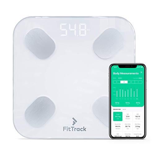 FitTrack Dara Bilancia Pesapersone Digitale BMI Smart - Misura Peso e Grasso Corporeo - Impedenziometrica Bluetooth da Bagno in Vetro (Bianca)
