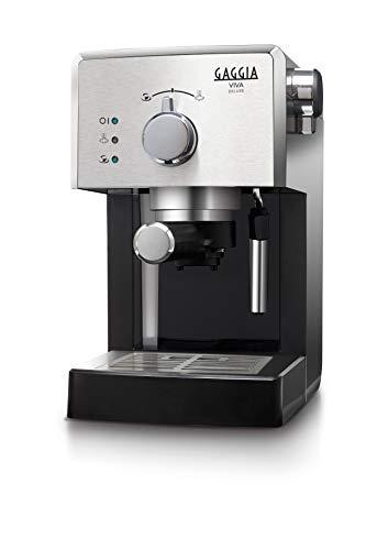 Gaggia RI8435/11 Viva Deluxe - Macchina da Caffè Espresso Manuale, per Macinato e Cialde, 1025W, 1L, Nero/ Argento
