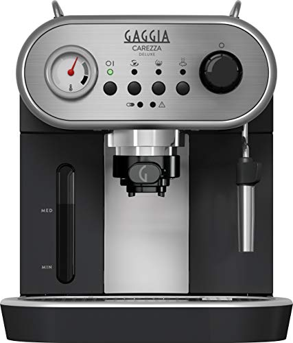 Gaggia RI8525/01 Carezza Deluxe Macchina da Caffè Espresso Manuale, per Macinato e Cialde, Grigio/Nero