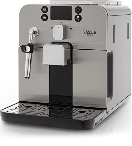 Gaggia RI9305/11 Brera - Macchina da Caffè Automatica, per Espresso e Cappuccino, Caffè in Grani o Macinato, 1400 W, Argento/Nero