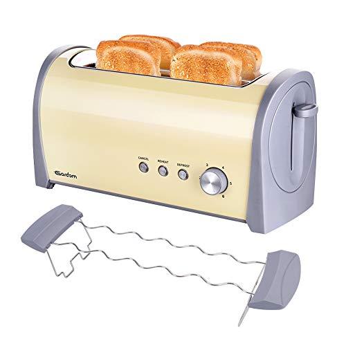 GARDOM Tostapane 4 Fette,Tostapane Elettrico 1400W, Acciaio Inossidabile Tostapane Con Defrost/Reheat/Cancel,6 Livelli di Tostatura e Una Griglia Scaldavivande (Vintage ▾)
