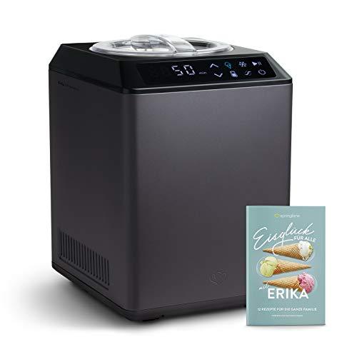 Gelatiera e Yogurtiera ERIKA 2 in 1 con Compressore Autorefrigerante, 250W, 2,5L, Macchina per Gelato & Yogurt Automatico in Acciaio inox, Gruppo Freddo Integrato, Cestello per Gelato Estraibile