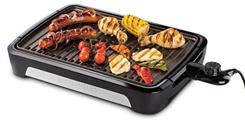 George Foreman 25850-56 Smokeless BBQ Grill, Niente Fumo per utilizzo in casa, Piastra e Vassoio Lavabili in Lavastoviglie, 1350 W, Nero, Larga Piastra in Acciaio 49.7 X 33.5 cm