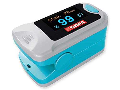 GIMA SATURIMETRO Oxy-3 Pulsossimetro da Dito Portatile, Misura il Livello di Ossigeno nel Sangue e il Battito Cardiaco, 2 pile Incluse, Display SpO2 Orientabile, Lingue IT,DE,SE,HU,RO