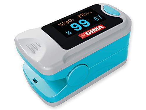GIMA SATURIMETRO Oxy-3 Pulsossimetro da Dito Portatile, Misura il Livello di Ossigeno nel Sangue e il Battito Cardiaco, 2 pile Incluse, Display SpO2 Orientabile