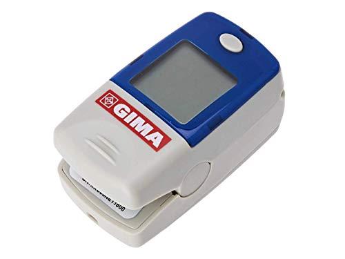 GIMA SATURIMETRO Oxy-5 Pulsoximetro da Dito, Diametro 10-22 mm, Portatile, Rileva Saturazione, Battito e Perfusione, 2 pile AAA Incluse, Allarmi Visivi e Acustici, Display LCD