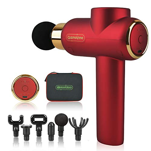 GizmoVine - Pistola massaggiante elettrica con 6 testine di massaggio e 5 velocità, motore senza spazzole, indicatore LED per la capacità della batteria