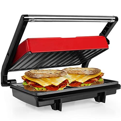 Gotoll Panini Maker/Griglia, Tostiera,Pressa a sandwich, Griglia elettrica, 750 Watt,Grill a Contatto 2 in 1, Tostapane, Grill da Tavolo Elettrico Piastre antiaderent