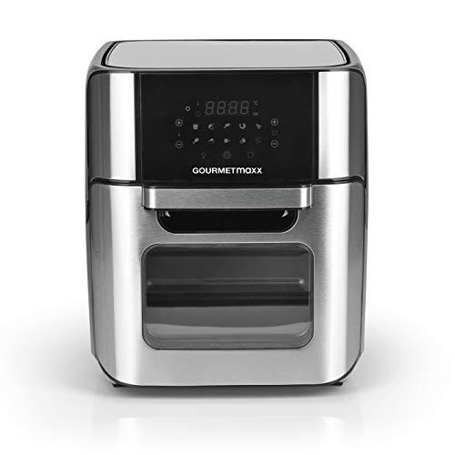 GOURMETmaxx Friggitrice ad aria calda XXL 12 litri | Friggitrice per friggere senza grassi, mini forno con circolazione d'aria 80-200°C | display touch screen e numerosi accessori [acciaio inox]