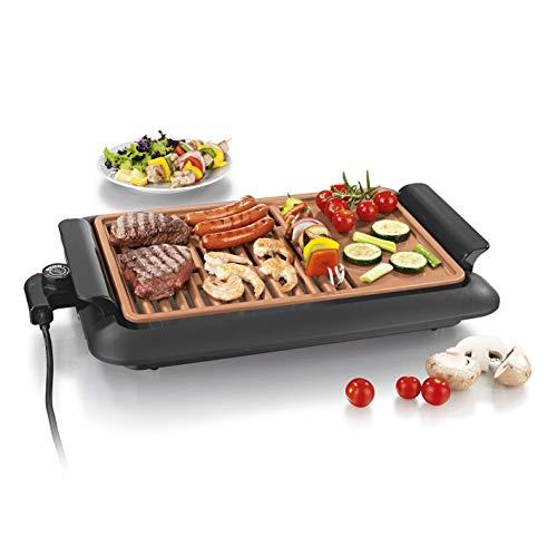 GOURMETmaxx Griglia elettrica da tavolo, senza fumo| Griglia elettrica con 2 superfici di cottura per risultati ottimali| Rivestimento antiaderente in ceramica, in terrazza o al tavolo [1250 Watt]