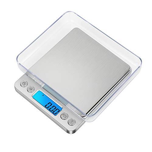 GPISEN Portatile Bilancia Cucina,Intelligente Bilance per Gioielli.Argento.con Display LCD e 6 Unità, Funzione Tara, per Cucinare, Caffè, Bilancia Digitale di Precisione-3000g x 0.1g