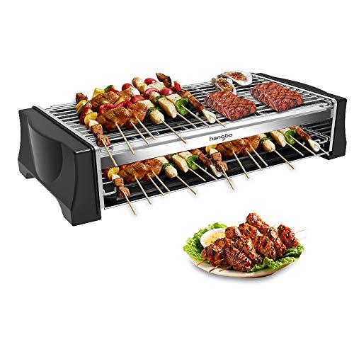 Griglia Barbecue Elettrico Senza Fumo, Griglia Elettrica Doppio Strato, 2200W Grill Elettrico Barbecue da Tavolo Grande Capacità, Termostato Regolabile Adatto per Barbecue da Casa e da Balcone - Nero