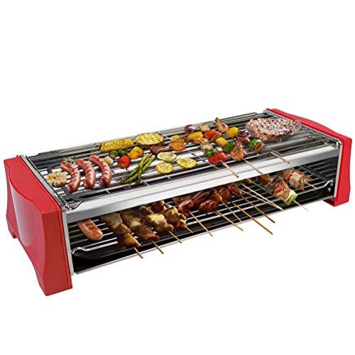 Griglia Elettrica Barbecue Elettrico da Tavolo BBQ Grill Elettrico Barbecue da Balcone con 2 Strati Bistecchiera Termostato Temperatura Regolabile Adatto per Interni Esterno 2200W