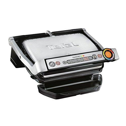 Grill elettrico Tefal GC702D, 2000 W (visualizzazione automatica del livello di cottura, 6 programmi preimpostati, in acciaio inox) nero/argento Standard Grillfläche (33 x 20 cm) nero