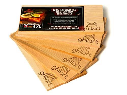 grillart® Tavole da griglia XL da 6 Pezzi - Legno di Cedro per Grigliare - Tavole di incenso in Legno di Cedro Rosso Occidentale Naturale al 100% per Un Gusto Speciale alla griglia