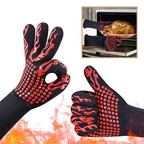 Guanti da Forno, Guanti da Barbecue Resistenza al Calore Fino a 800°C, Accessori BBQ Ingnifughi per Griglia, Camino, Cottura al Forno, Cucina (1 Paio)