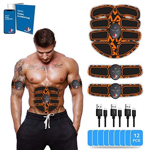【Guida Alimentare Inclusa】 SportLab21™ Elettrostimolatore per Addominali, Ricarica USB, Elettrostimolatore Muscolare, Stimolatore Muscolare per Addominali, Braccia E Glutei, 12 Gel.