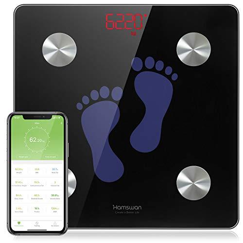 HAMSWAN Bilancia pesapersone Digitale, Misuratore di bilancia smart Impedenziometrica professionale con connessione Bluetooth (BMI/Muscolo/Grasso corporeo/Massa ossea) per IOS e Android