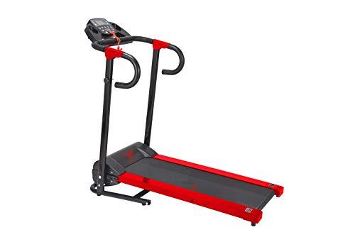 HANKING PLANET Tapis roulant pieghevole – Tapis roulant elettrico compatto con display LCD e programmi di intensità – max 10 km/h – 500 W – rosso