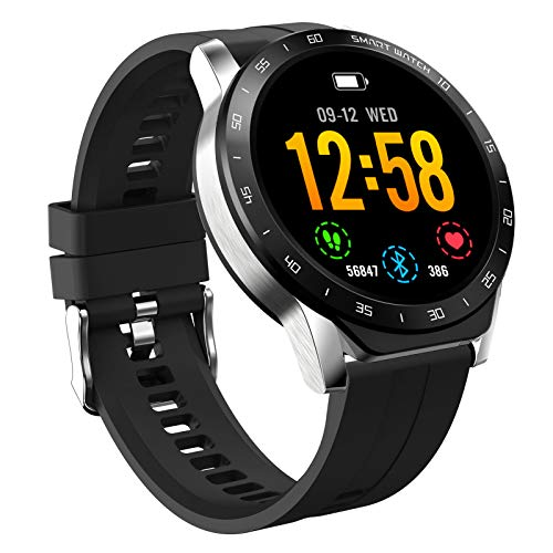 HAOQIN HaoWatch VS1 1.3 Pollici Full Touch Screen IP67 Smartwatch impermeabile con cardiofrequenzimetro Compatibile iPhone telefoni Android argento