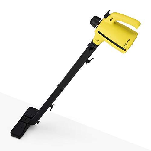 H.Koenig NV700 Pulitore a vapore, Portatile con estensione per pavimenti + Accessori, Multiuso, 3.5 bars, 350ml,1050W, Nero/Giallo