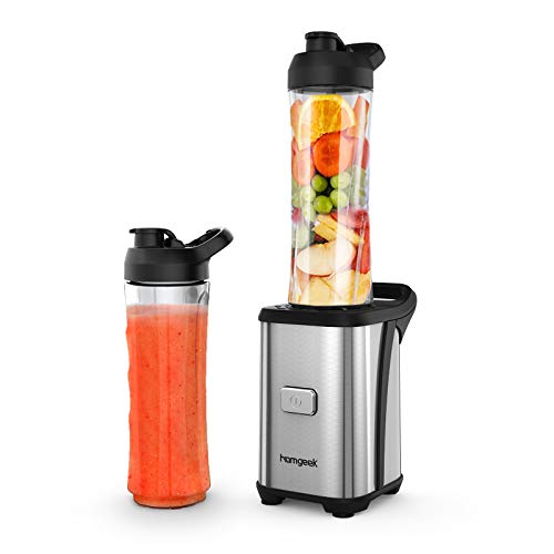 homgeek Frullatore per Frullati e Smoothie, Mini Frullatore con 2 Portatile Bottiglie(600ML) in Tritan, 4 Lama e Corpo in Acciaio Inox, Senza BPA, 23000 giri/min, 350W