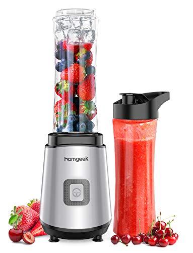 homgeek Mini Frullatore 400W, Frullatore per Frullati e smoothie da 600 ml, con 2 Flaconi Portatili senza BPA, 4 Lame in Acciaio Inossidabile e un Pulsante,25000 r/min