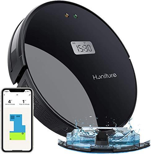 HONITURE Aspirapolvere robot aspirapolvere Wi-Fi con robot aspirapolvere peli di animali e allergeni per tappeti e pavimenti lisci, compatibile con Alexa e app di controllo