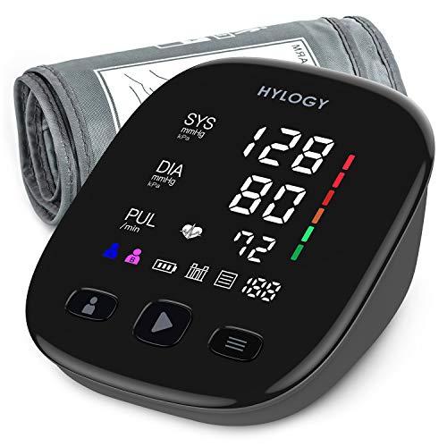 HYLOGY Misuratore di Pressione, Digitale Automatica Sfigmomanometro da Braccio, Grande Schermo Led e Bracciale, 2 utente 180 Memoria