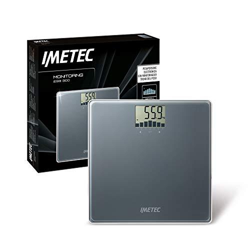 Imetec Monitoring ES9 300 Bilancia Pesapersone Elettronica, Monitoraggio Trend Grafico Peso, 4 Utenti, fino a 180 Kg, LCD Display, Vetro Temperato, Grigio Scuro