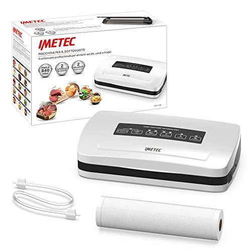 Imetec VM2 1500 Macchina Sottovuoto per Alimenti, Sigillatrice Automatica e Manuale con 6 Funzioni, Aspirazione 840 mbar, Velocità 12 L/min, Rotolo per Sacchetti 30 x 600 cm