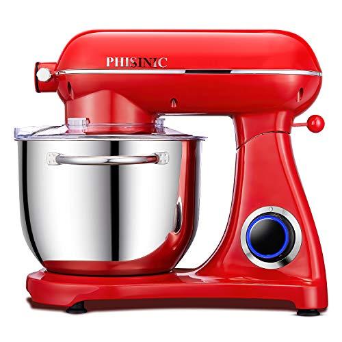 Impastatrice Planetaria, PHISINIC Robot da Cucina 6.5L 1800W, Kitchen Mixer Multifunzione, Metallo, con punto di raccordo (Rosso)