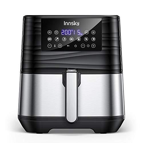 Innsky 5.5L 1700W, Friggitrice ad Aria con 7 Programmi + Funzione di Avvio/Pausa/Riavvio Differita, Anti-surriscaldamento, Display Digitale, Fornetto Elettrico con Ricette Multilingue, No BPA o PFOA