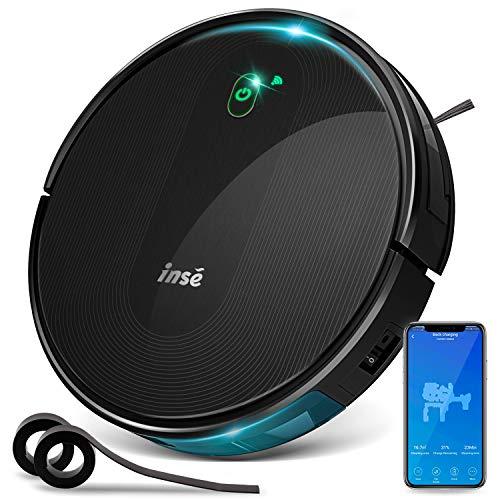 INSE Robot Aspirapolvere, Controllo Alexa/Google Home y WiFi, con Mappatura, 2000Pa, Navigazione Sistematica Intelligente, Ricarica Automatica, per Pulizia Domestica/Peli Animali/Capelli/Polvere